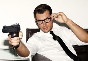 gun and glasses